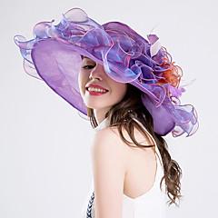 お買い得  パーティーハット-羽毛シルクオーガンザの魅力帽子のヘッドピースクラシックな女性のスタイル