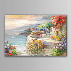 cheap Wall Art-Oil Painting Hand Painted - Landscape Modern Contemporary Rolled Canvas