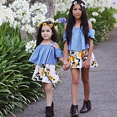 billige Tøjsæt til piger-Pige Tøjsæt Blomstret Mode, Bomuld Sommer Kortærmet Blomster Pænt tøj Blå