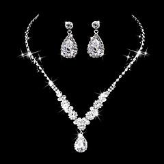 Γυναικεία Κρεμαστά Σκουλαρίκια Κολιέ Τσόκερ Νυφικό κόσμημα σετ Cubic Zirconia Στρας κοσμήματα πολυτελείας Κομψή ΠεπαλαιωμένοCubic