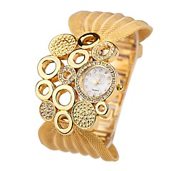 Damen Quartz Armbanduhr Imitation Diamant Legierung Band Freizeit Modisch Silber Gold