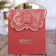 cheap Favor Holders-Creative Cuboid Card Paper Pearl Paper Favor Holder with Pattern Favor Boxes Favor Bags - 100