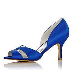 preiswerte Brautschuhe-Damen Schuhe Satin Sommer Herbst Komfort Sandalen Stöckelabsatz Offene Spitze für Hochzeit Kleid Party & Festivität Büro & Karriere Blau