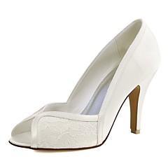 olcso -Női Esküvői cipők Magasított talpú Streccs szatén Tavasz Nyár Esküvő Party és Estélyi Kombinált Stiletto Fehér Kristály3 inch-3 3 / 4