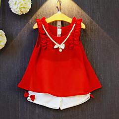 billige Tøjsæt til piger-Pige Tøjsæt Patchwork, Rayon Polyester Sommer Uden ærmer Rosette Folder Rød