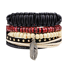 cheap -Men's Leather Bracelet Strand Bracelet Wrap Bracelet Handmade Punk Adjustable Personalized DIY Leather Wood Alloy Round Feather Jewelry