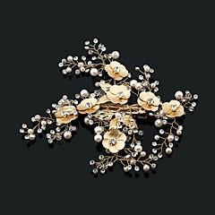 人造真珠 ラインストーン 合金 コサージュ ヘアクリップ バンスクリップ かぶと