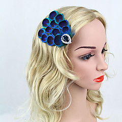 cheap Party Headpieces-Rhinestone Feather Alloy Headbands Flowers Hair Clip Headpiece