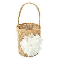 """Χαμηλού Κόστους Καλαθάκια Λουλουδιών-Καλάθι Λουλουδιών Λινό 9 7/8"""" (25 εκ) Δαντέλα Λουλούδι 1"""