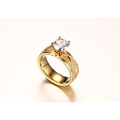 preiswerte Ringe-Damen Kubikzirkonia Bandring - vergoldet Simple Style, Modisch 6 / 7 / 8 Gold Für Hochzeit / Verlobung / Zeremonie