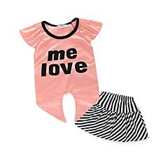 billige Tøjsæt til piger-Baby Pige Stribet Stribe Kortærmet Normal Normal Polyester Tøjsæt Lyserød
