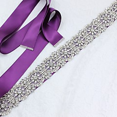 Satin/ Tulle Wedding Special Occasion Anniversary Birthday Party/ Evening Sash With Rhinestone Imitation Pearl Appliques
