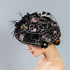 cheap Party Headpieces-Tulle Lace Feather Fabric Silk Net Fascinators Hats Headpiece