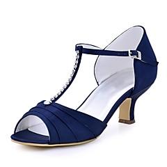 Damen Hochzeit Schuhe Pumps Stretch - Satin Sommer Hochzeit Kleid Kristall Schnalle Blockabsatz Schwarz Dunkelblau Rot Grün Blau 5 - 7 cm