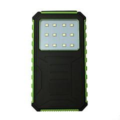 billige Eksterne batterier-12000mAh strømbank eksternt batteri 5 Batterilader Vanntett Lommelykt Solenergilading LED