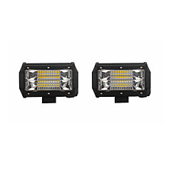 cheap Car Lights-2PCS 72W 7200lm 6000K LED White Flood 3-Rows Working Light for Car/Boat/Headlight   9v-32v