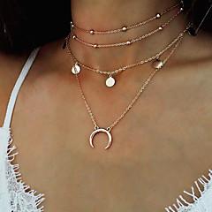 Femme Pendentif de collier Colliers chaînes Bijoux Forme Ronde Lune Alliage Mode Vintage Bohême Bijoux Pour Décontracté Plein Air