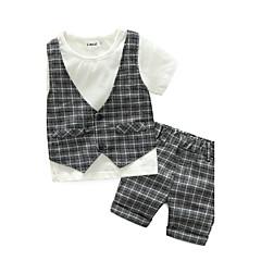 billige Tøjsæt til drenge-Baby Drenge Ternet Ruder Kortærmet Bomuld Tøjsæt Grå