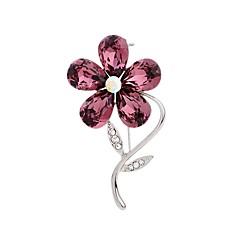 Dame Nåler Rhinstein Elegant Blomstret Strass Legering Blomsterformet Smykker Til Aftenselskap Ut på byen