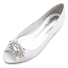 Women's Shoes Satin Spring Summer Comfort Ballerina Wedding Shoes Flat Heel Peep Toe Rhinestone Sparkling Glitter Flower For Wedding