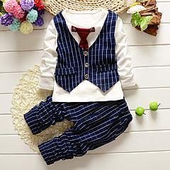 billige Tøjsæt til drenge-Baby Drenge Ternet Ensfarvet Langærmet Normal Normal Bomuld Tøjsæt Sort