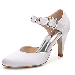 cheap Wedding Shoes-Women's Shoes Silk Spring Fall Ankle Strap D'Orsay & Two-Piece Wedding Shoes Cone Heel Round Toe Buckle Gore Hollow-out for Wedding Party