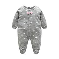 billige Babytøj-Baby Pige Weekend Trykt mønster Langærmet 100 % bomuld Overall og jumpsuit Lyserød