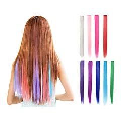 baratos Perucas Sintéticas-Extensões de Cabelo Natural Pedaço de cabelo Liso Clássico Cabelo Sintético Alongamento Com Presilha Diário