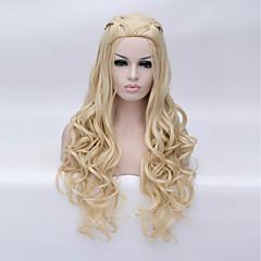 billige Kostymeparykk-Syntetiske parykker / Kostymeparykker Dyp Bølge Syntetisk hår Blond Parykk Dame Lang Halloween parykk Lokkløs