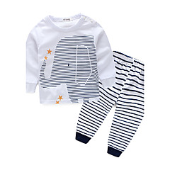 tanie Odzież dla chłopców-Brzdąc Dla chłopców Prążki Pasek Długi rękaw Bawełna Komplet odzieży
