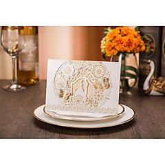 cheap Wedding Invitations-French-Fold Wedding Invitations 20-Invitation Cards Bride & Groom Style Embossed Paper