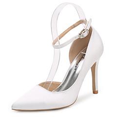 Damen Schuhe Seide Frühling Herbst Pumps Knöchelriemen Hochzeit Schuhe Stöckelabsatz Spitze Zehe Schnalle Für Hochzeit Party & Festivität