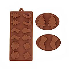 billige Bakeredskap-snømann juletrær sjokolade silikon mold kaker molds fondant kake dekorere