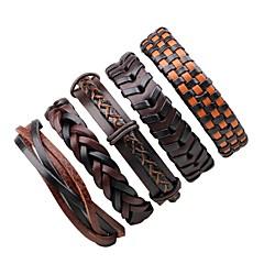 Муж. Жен. Wrap Браслеты Кожаные браслеты Регулируется Rock Кожа Круглый Бижутерия Назначение Halloween На выход