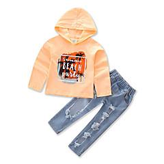 billige Tøjsæt til piger-Baby Pige Pænt tøj Geometrisk Langærmet Normal Normal Bomuld / Polyester Tøjsæt Gul