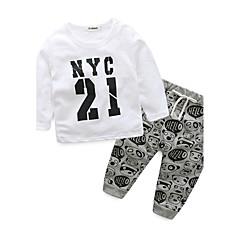 tanie Odzież dla chłopców-Brzdąc Dla chłopców Kreskówki Nadruk Długi rękaw Bawełna Komplet odzieży