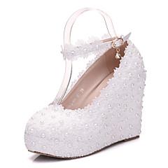 olcso -Női Cipő PU Tavasz Ősz Kényelmes Újdonság Esküvői cipők Parafa Kerek orrú Rátét Gyöngydíszítés Csat Kompatibilitás Esküvő Party és Estélyi