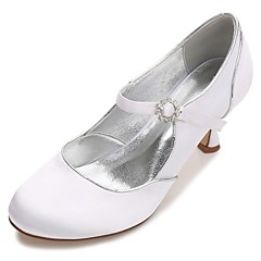 Damen Schuhe Satin Frühling Sommer Komfort Pumps Hochzeit Schuhe Niedriger Absatz Kitten Heel-Absatz Stöckelabsatz Runde Zehe Strass