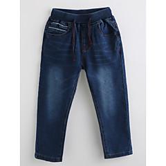 billige Gutteklær-Gutt Jeans Ensfarget Bomull Høst Navyblå