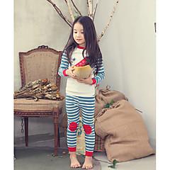 billige Undertøj og sokker til piger-Pige Tegneserie Geometrisk Langærmet Bomuld Nattøj Hvid