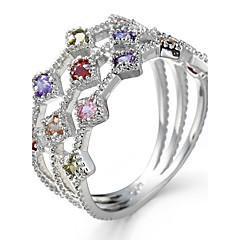 男性用 女性用 ナックリリング 婚約指輪 キュービックジルコニア ジルコン 銅 円形 幾何学形 ジュエリー 用途 結婚式 パーティー 誕生日 婚約