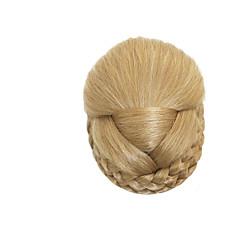 baratos Pedaços de Cabelo-Loiro Clássico Ano Novo Natal Dia Das Bruxas Bolo de cabelo Alta qualidade Coques Cabelo Sintético Pedaço de cabelo Alongamento Clássico