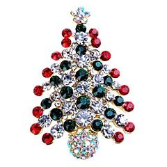 Damen Broschen Strass Einfach Süß Strass Aleación Baum des Lebens Schmuck Für Weihnachten