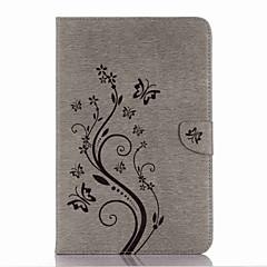 billige Nettbrettetuier-Etui Til Samsung Galaxy Heldekkende etui Tablet Cases Sommerfugl Blomsternål i krystall Hard PU Leather til