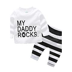billige Sett med babyklær-Baby Drenge Dragter / Stribet Daglig Stribe Bomuld Tøjsæt Hvid