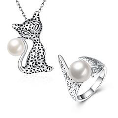 tanie Zestawy biżuterii-Damskie Cyrkonia Pearl imitacja Biżuteria Ustaw Zawierać Naszyjniki Pierścień - Podstawowy Modny Stop Kot Naszyjniki z wisiorkami