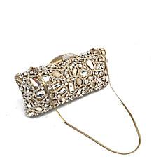 billiga Brudskor-Dam Väskor Metall Aftonväska Kristalldetaljer Geometrisk Guld / Rhinestone Crystal Evening Bags / Rhinestone Crystal Evening Bags