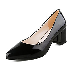 cheap Women's Heels-Women's Patent Leather Spring / Fall Basic Pump Heels Chunky Heel Closed Toe White / Black / Red / 2-3
