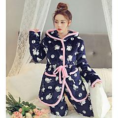 billige Moteundertøy-Dame Bomull Med hette Pyjamas - Dyr, Trykt mønster