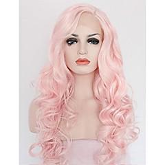 billiga Peruker och hårförlängning-Syntetiska snörning framifrån Lockigt / Vågigt Rosa Syntetiskt hår Rosa Peruk Dam Mellan / Lång Spetsfront Rosa